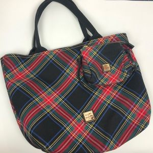 DOONEY & BOURKE PLAID TOTE AND COSMETICS CASE